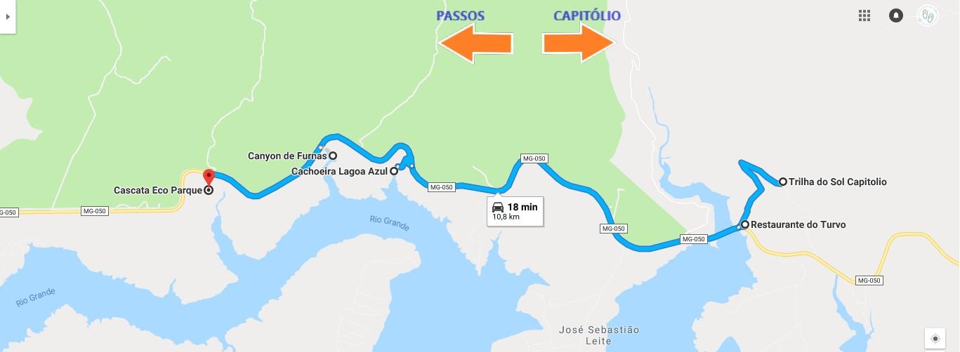 Mapa de passeios de Furnas e Capitólio