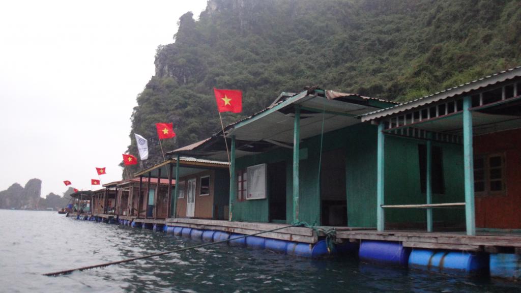 Casas do vilarejo flutuante Cua Van, em Ha Long Bay, norte do Vietnã. Incrível experiência visitar esse lugar, e conhecer como as pessoas vivem no meio da Baía de Halong. Cua Van Floating Village, in Ha Long Bay.