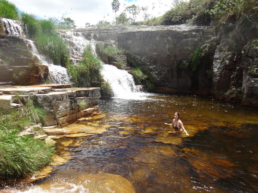 Banho em Cascata Eco Parque, em Capitólio