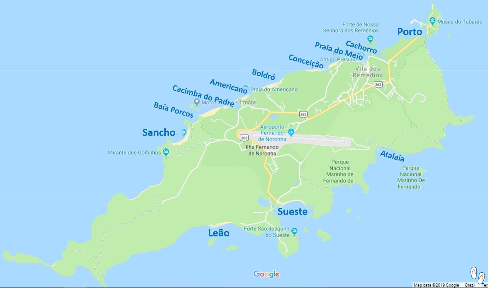 Mapa de praias de Fernando de Noronha