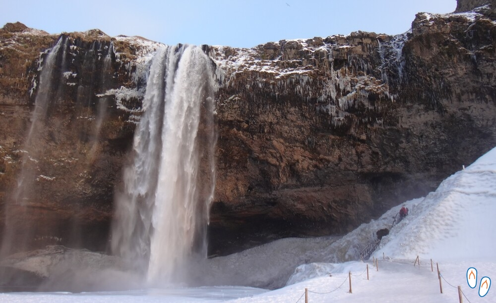 Seljalandsfoss waterfall in icelandic winter